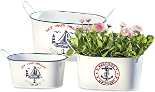 WHW Whole House Worlds Sailors Delight Plant Containers, Set of 3, Nautical, White, Red and Blue Jardiniere, Cache Pots, Oval Planters, Galvanized Metal, 12 1/4, 11 1/2, and 9 Inches Long