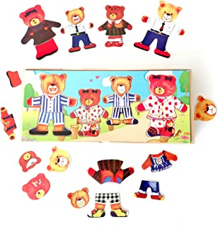 Genius Art Mix 'n Match Wooden Bear Family Dress-Up Puzzle with Storage Case, 66 Pieces