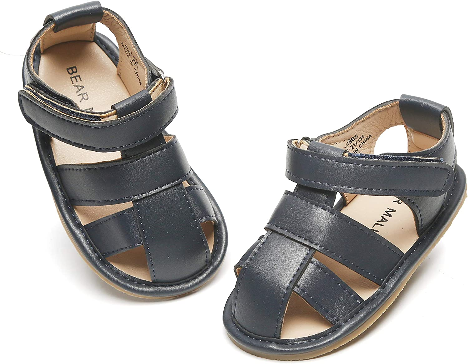 Felix & Flora Baby Toddler Girls Boys Sandals - Soft Rubber Sole Leather Baby Walking Shoes(Infant/Toddler)
