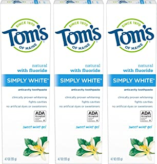 Tom's of Maine Natural Simply White Fluoride Toothpaste, Sweet Mint, 4.7 oz. 3-Pack