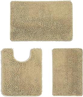 PHRIXUS Bathroom Rugs Set 3 Piece Luxury Soft Chenille Bath Mats Extra Absorbent Shaggy Non Slip Microfiber Plush Carpets ...
