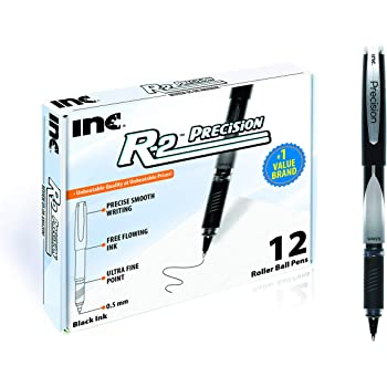 INC R2 PRECISION ROLLERBALL 0.5 MM Tip Ultra Fine Point 12 Count Comfort Grip R-2 Precision Pens with Free Flowing Liquid Ink for Smooth Writing, Premium Black Ink Pens for Home, School or Office