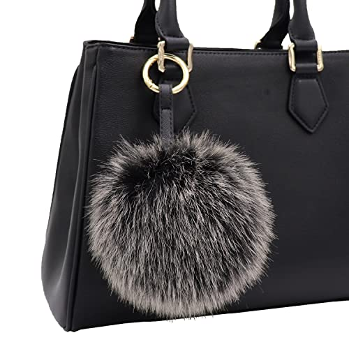 ecc3d92b9c Aiphamy Faux Fur Pom Pom Keychain Purse Bag Charm Fluffy Ball Key Chain for  Women