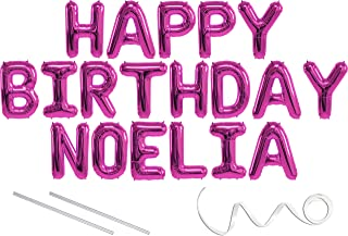 Noelia, Happy Birthday Mylar Balloon Banner - Pink - 16 inch Letters. Includes 2 Straws for Inflating, String for Hanging. Air Fill Only- Does Not Float w/Helium. Great Birthday Decoration
