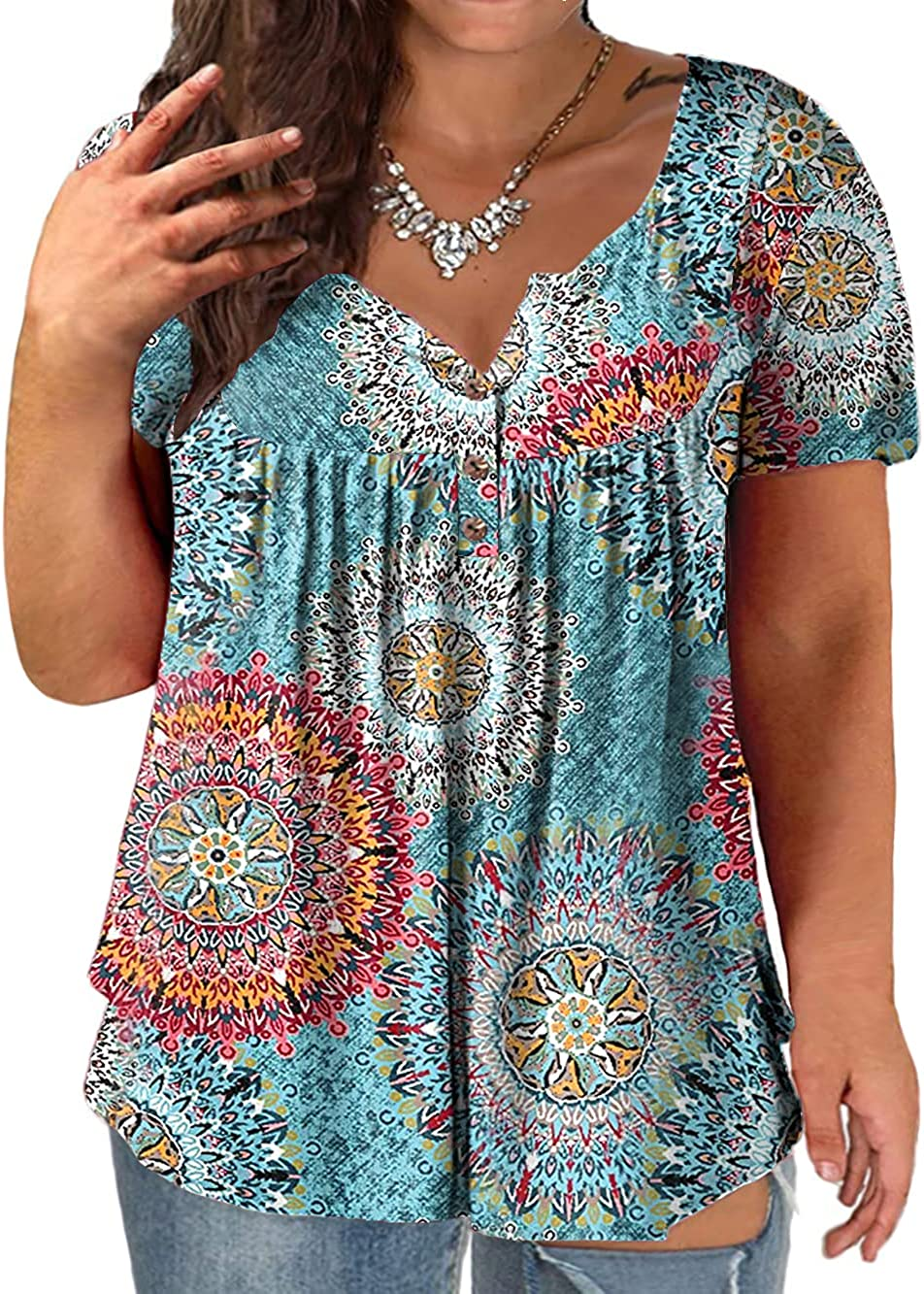VOGRACE Plus-Size Tops for Women Summer Henley Shirts Flowy Tunics Tee
