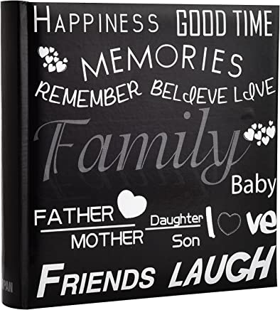 ARPAN Family, Friends Travel/Holiday Destinations/Memory Picture Album with Memo Writing Area and Decorative Text Design Fit 200 4 x 6-inch / 10x15cm Photos, Black, 23 x 4.5 x 22.5 cm