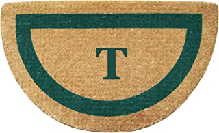 """Heavy Duty 22"""" x 36"""" Coco Mat, Green Single Picture Frame Monogrammed T, Half Round"""