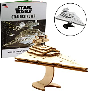 Star Wars Star Destroyer Book and 3D Wood Model Figure Kit - Build, Paint and Collect Your Own Wooden Movie Toy Model - Great for Kids and Adults, 12+ - 5