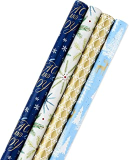 Hallmark Holiday Wrapping Paper Bundle with Cut Lines on Reverse, Elegant Woodland (Pack of 4, 120 sq. ft. ttl) Peace and Joy, Snowflakes, Greenery, Blue, Gold