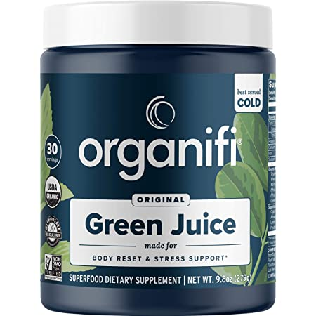 Organifi: Green Juice - Organic Superfood Powder - Organic Vegan Greens - Helps Decrease Cortisol - Provides Better Response to Stress - Supports Weight Control - Total Body Wellness - 30-Day Supply