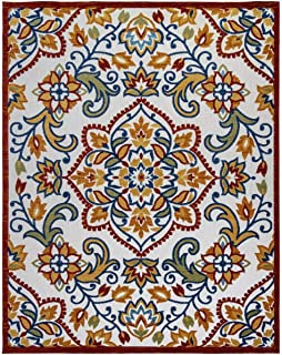 Gertmenian Indoor Outdoor Rug Textured Colorful Exterior Patio Carpet 9x13 Extra Large Floral Medallion Orange Red