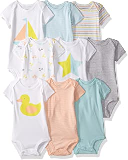 Carter's Baby 9-Pack Grow with Me Bodysuit Set, Duck Star, 6M-9M-12M