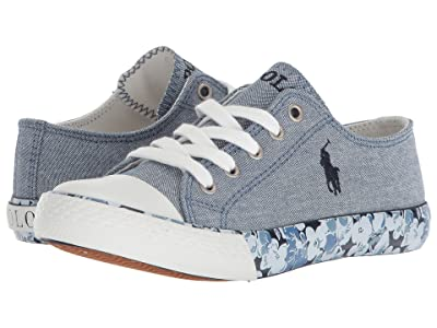 Polo Ralph Lauren Kids Slone (Little Kid) (Blue Chambray/Navy Pony Player/Printed Floral Foxing) Girl
