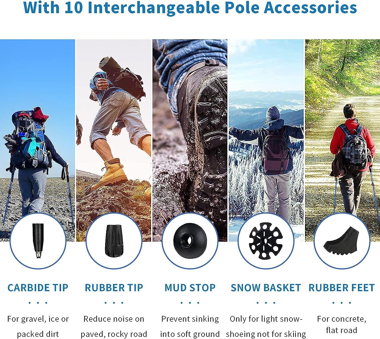 Aihoye Trekking Walking Hiking Poles Collapsible Lightweight - Adjustable Anti-Shock 7075 Hiking Walking Sticks 2 Pack with Strong Quick Flip-Lock and Comfortable Cork Grips : Sports & Outdoors