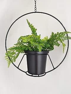 RISEON Black Hanging Flower Plant Pot,Black Metal Basket Planter Holder,Modern Plant Hanger Metal Hanging Planter for Indoor Outdoor Home Decor (Black)