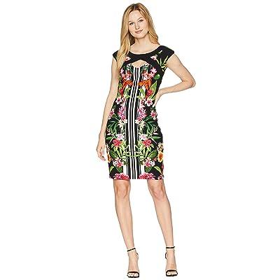 Sangria Tropical Cap Sleeve Dress (Black/Multi) Women