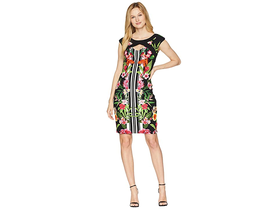 Sangria Tropical Cap Sleeve Dress (Black/Multi) Women
