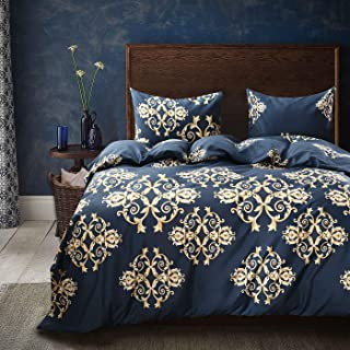 navy blue and gold duvet cover