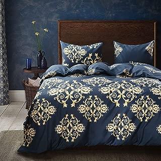 Cozyholy Luxury Royal style Duvet Cover Baroque Design Comforter Cover Vintage Bohemian Set Ultra Soft Zipper Colsure, 3 Pieces Bedding Set (King, Navy blue - luxury golden Baroque pattern)
