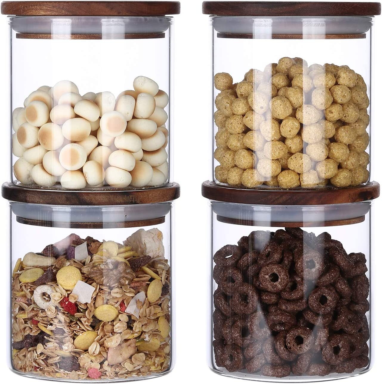 KKC Borosilicate Glass Storage Jars Airtight Max 52% OFF Wood Glas Free shipping anywhere in the nation Lids with