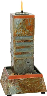 Sunnydaze Outdoor Water Fountain Cube Column Tower with Torch Top, Natural Slate, 31-Inch