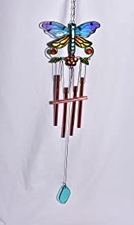 Asian Oriental Wind Chime New Colorful Butterfly with Rhinestones Glass & Metal Bell Hanging Wind Chime