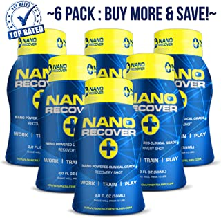 Nano Recover | Clinical Grade Hangover Cure Recovery Shot | Morning After Alcohol Recovery Drink | Liver Detox & Hangover Prevention Remedy w/DHM, Milk Thistle, Electrolytes, Vitamins, Minerals- 6 pk