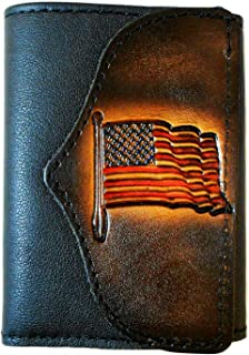 Mens Handcrafted Leather Trifold Wallet American Flag USA