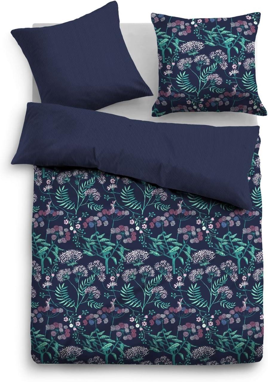 copripiumino da 155 x 220 cm e federa da 80 x 80 cm colore: blu indaco Tom Tailor 0069852 Biancheria da letto in raso
