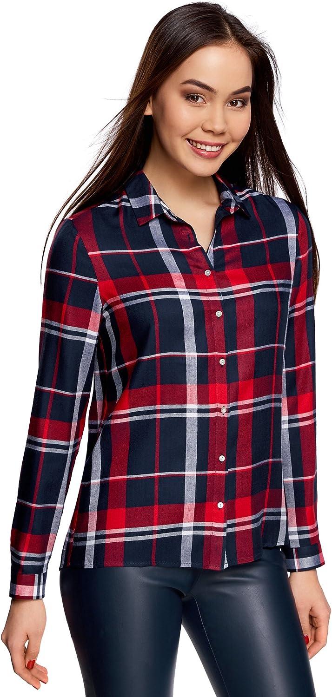 oodji Ultra Mujer Blusa Estampada de Viscosa