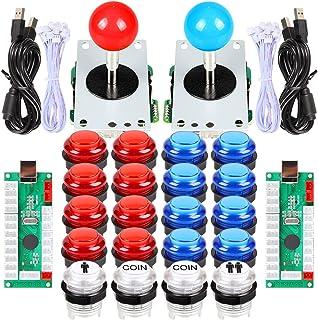 EG STARTS 2 Player Arcade DIY Kits Parts 2 Stickers + 20 LED Illuminated Push Buttons for Arcade Joystick PC Games Mame Ra...