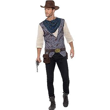22656 Western Smiffys D/éguisement Homme Cowboy Gilet Jambi/ère de cuir Foulard et Chapeau Serious Fun Taille M
