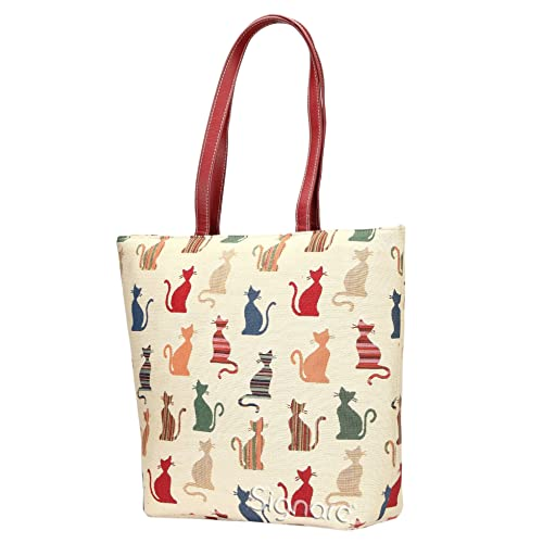 53778a1efca Signare Cheeky Cat White and Red Ladies Fashion Canvas Tapestry Shoulder Tote  Handbag, Travel Handbags