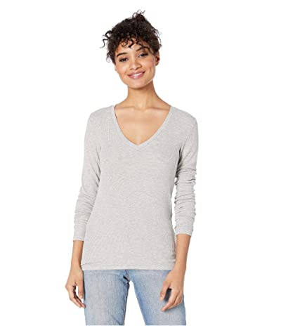 Splendid Valley 2x1 Rib Long Sleeve V-Neck (Heather Grey) Women