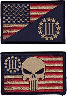 Set of US Flag Punisher 3 Percenter Militia 2A Morale Tactical Hook Patches