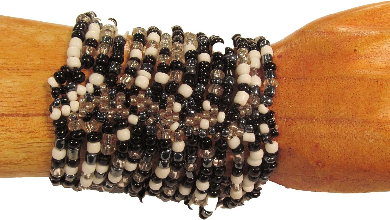 Bali Bay Trading Company Black & White Cleopatra Boho Handmade Beaded Cuff Stretch Elastic Bracelet