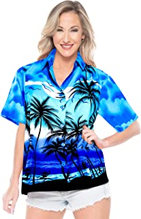LA LEELA Women Tank Top Hawaiian Shirt Party Aloha Printed