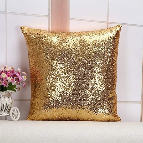 ShiDianYi Sequin Pillow Case Sequin Throw Pillow Covers Gold 18x18 Inch Sequin Backdrop Tablecloths Table Runner Birthday Decorations 1102S