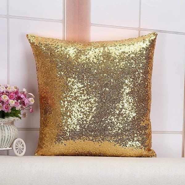Shidiany 亮片枕头套亮片抱枕套金色 18x 1102 亮片背景桌布桌布跑步者生日装饰品 S