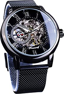 Men's Skeleton Watch Steampunk Watch Black Mechanical Watch for Men Minimalist Retro Design Mechanical Skeleton Wrist Watc...