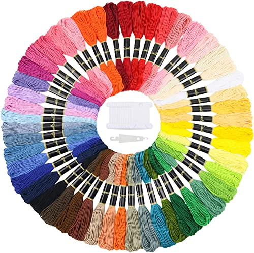 Similane Embroidery Floss 50 Skeins Cross Stitch Thread Rainbow Color Friendship Bracelets Floss Crafts Floss with 12...