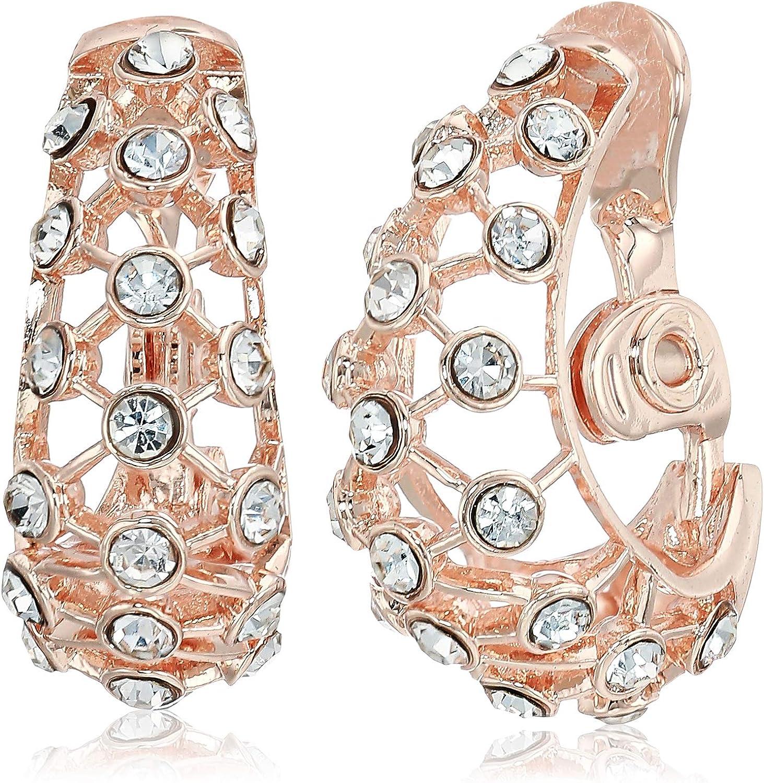 Anne Klein Women's Crystal J Hoop Clip Earrings, Rose Gold