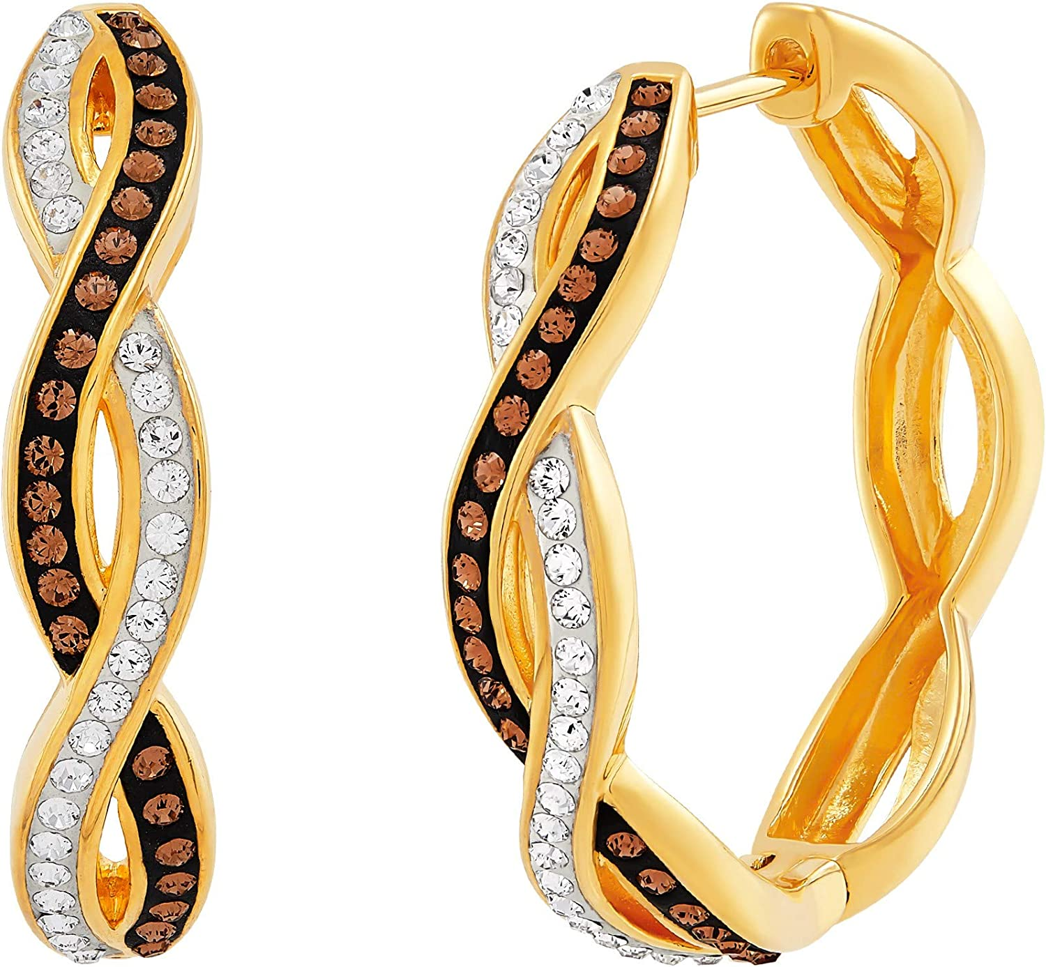 Intertwined Popular popular Lowest price challenge Hoop Earrings with Brown in White Gold-Pl Crystals