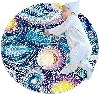 Natthimmel med stjärnor, barn rund matta polyester överkast matta mjuk pedagogisk tvättbar matta barnkammare tipi tält lek...