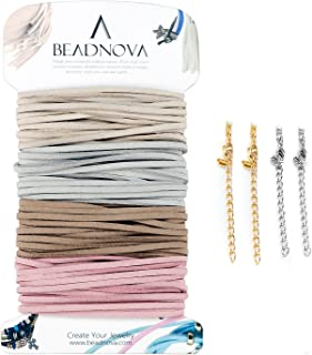BEADNOVA Flat Leather Cord Fiber Lace Faux Leather Suede Cords Leather Strip Flat Thread String for Jewelry Making and Bracelets (4 Colors, 3.3yard, 3mm)