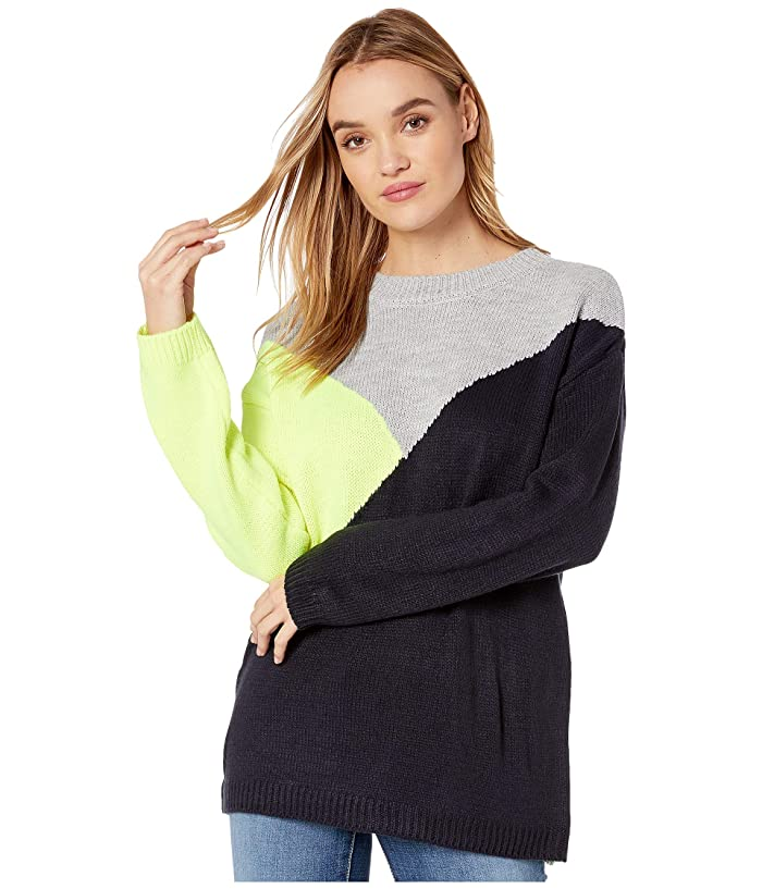 BB Dakota  Bunny Slope Color Block Crew Neck Sweater (Lime Green) Womens Sweater