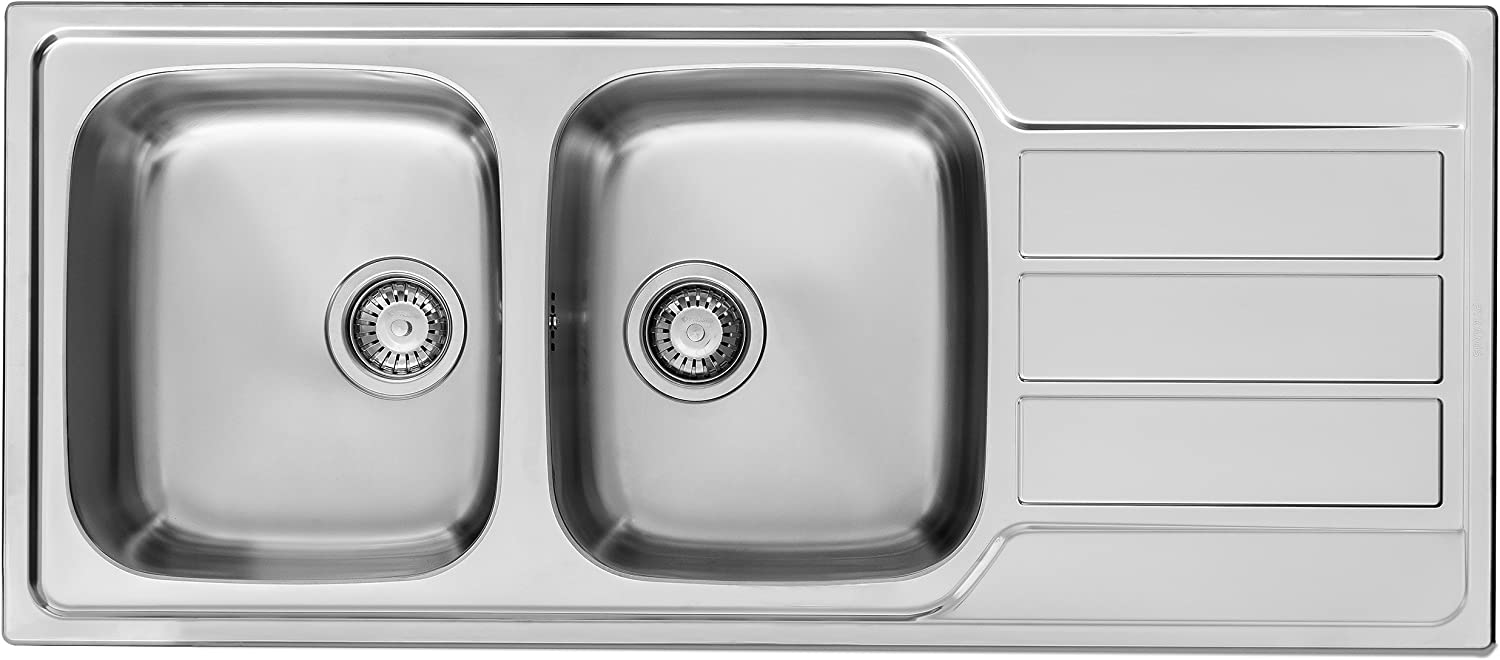 Pyramis 107163101 Kitchen Sink Made of Stainless Steel Double Bowl Athena (116 x 50) 2B 1D-Smooth, Grey