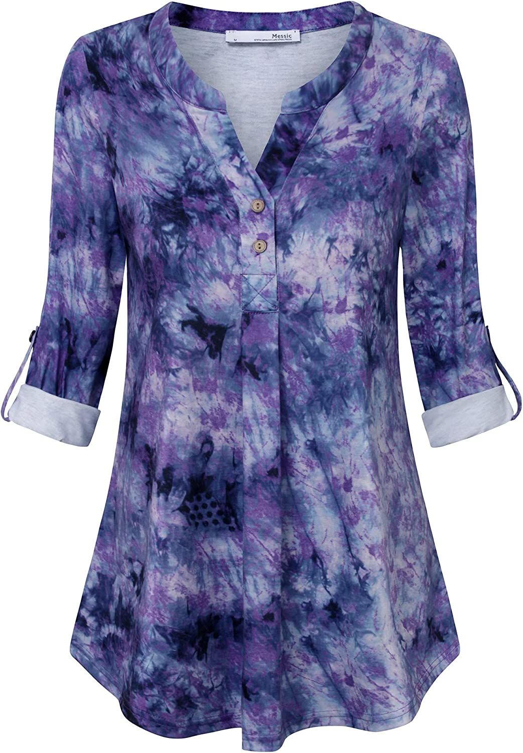 Messic Women's 3/4 Cuffed Sleeve Shirt Casual V Neck Pleated Flowy Henley Tunic Tops