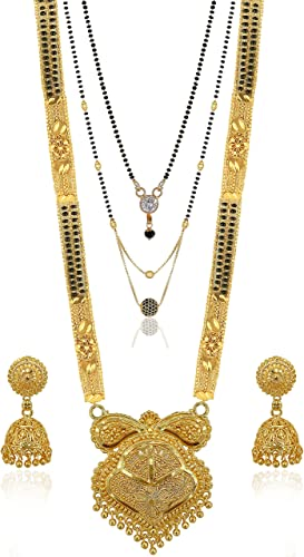 Traditional Necklace Pendant Gold Plated Hand Meena 30inch Long and 18inch short with 2 Inch Earring Combo Of 3 Mangalsutra Tanmaniya nallapusalu Black Beads For Women and Girls