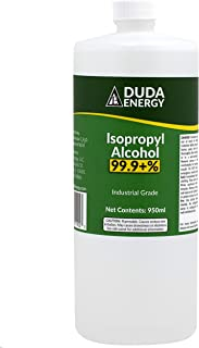 Duda Energy Bottle of Pure Isopropyl Industrial Grade IPA Concentrated Rubbing Alcohol, Clear, 32.12 Fl Oz